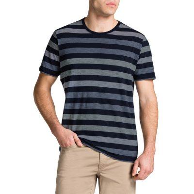 Fashion 4 Men - Tarocash Angus Stripe Crew Neck Tee Navy 5 Xl