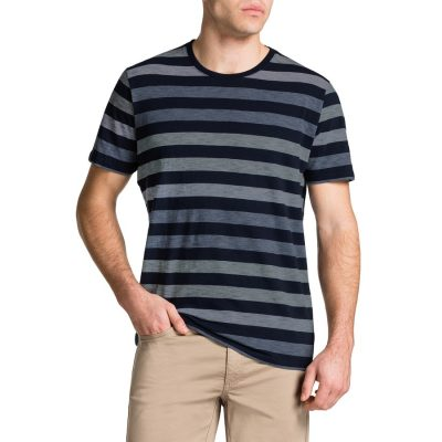 Fashion 4 Men - Tarocash Angus Stripe Crew Neck Tee Navy M