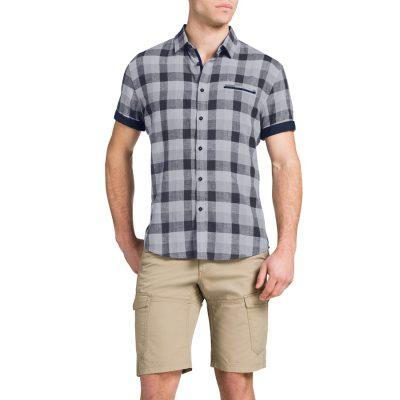 Fashion 4 Men - Tarocash Bradley Linen Check Grey 5 Xl