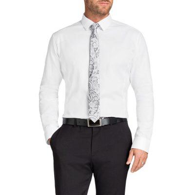 Fashion 4 Men - Tarocash Brooklyn Textured Shirt White Xs