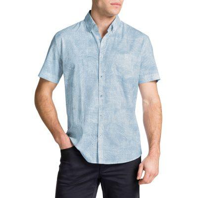 Fashion 4 Men - Tarocash Fern Print Shirt Sky Xxxl