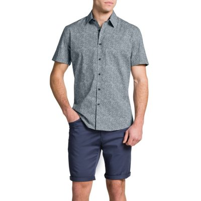 Fashion 4 Men - Tarocash Kelso Print Shirt Navy 5 Xl