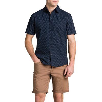Fashion 4 Men - Tarocash Navy Bracket Print Shirt Navy L