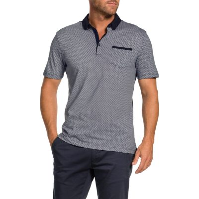 Fashion 4 Men - Tarocash Reynold Printed Polo Navy S