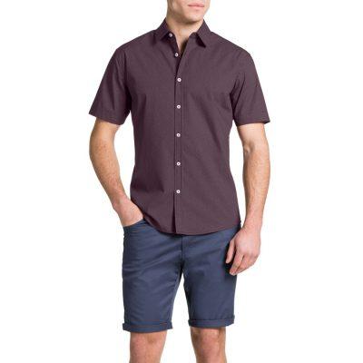 Fashion 4 Men - Tarocash Spot Print Shirt Burgundy M