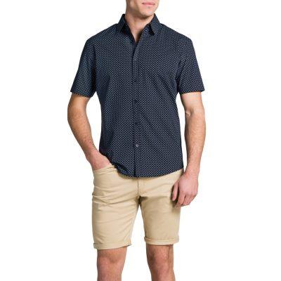 Fashion 4 Men - Tarocash Square Print Shirt Navy M