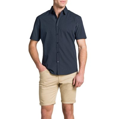 Fashion 4 Men - Tarocash Square Print Shirt Navy Xxl