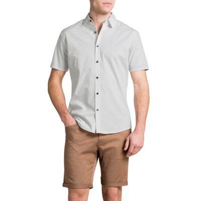Fashion 4 Men - Tarocash Square Print Shirt White Xxxl