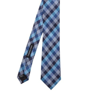 Fashion 4 Men - Tarocash Textured Check Tie Blue 1