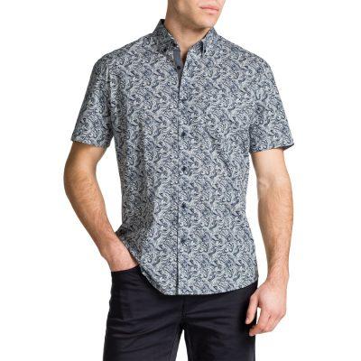Fashion 4 Men - Tarocash Waves Paisley Shirt Navy S