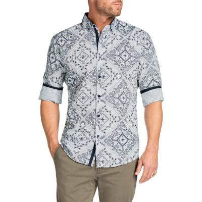 Fashion 4 Men - Tarocash Bandana Slim Print Shirt White L