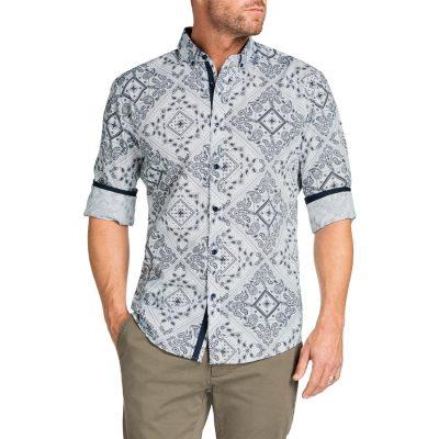 Fashion 4 Men - Tarocash Bandana Slim Print Shirt White M