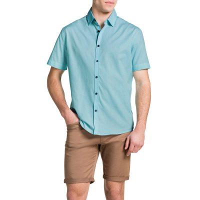 Fashion 4 Men - Tarocash Bert Print Shirt Aqua 4 Xl