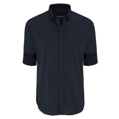 Fashion 4 Men - Tarocash Dash Spot Stretch Print Shirt Navy 4 Xl