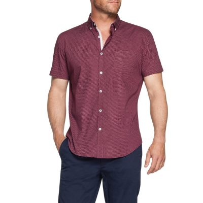 Fashion 4 Men - Tarocash Iggy Print Shirt Burgundy Xxxl