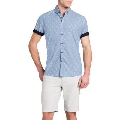 Fashion 4 Men - Tarocash Palm Print Shirt Cobalt Xxl