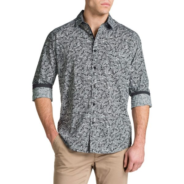 Fashion 4 Men - Tarocash Power Paisley Print Shirt Black 4 Xl
