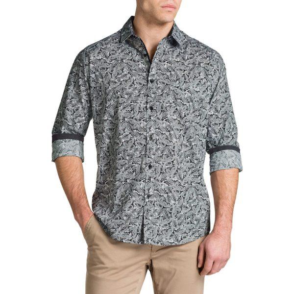 Fashion 4 Men - Tarocash Power Paisley Print Shirt Black S