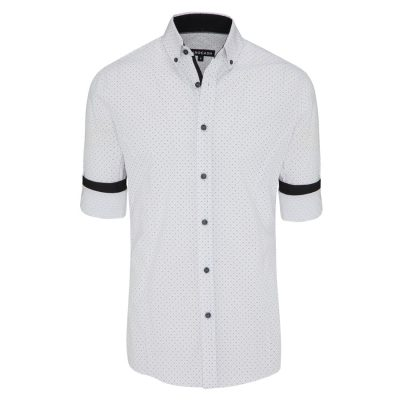Fashion 4 Men - Tarocash Royale Slim Print Shirt White L