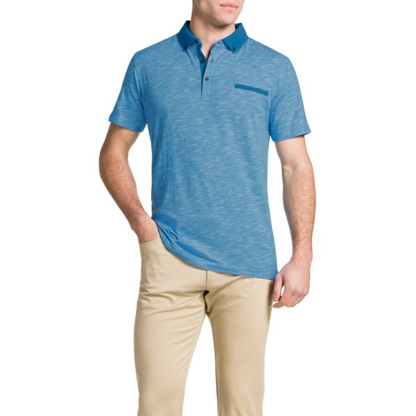 Fashion 4 Men - Tarocash Slub Stripe Polo Aqua L