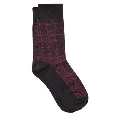 Fashion 4 Men - yd. Aztec Design Sock Burgundy One