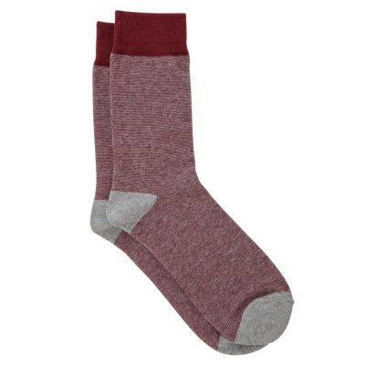 Fashion 4 Men - yd. Fine Stripe Sock Burgundy One