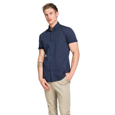 Fashion 4 Men - yd. Micro Spot Short Sleeve Shirt Navy S