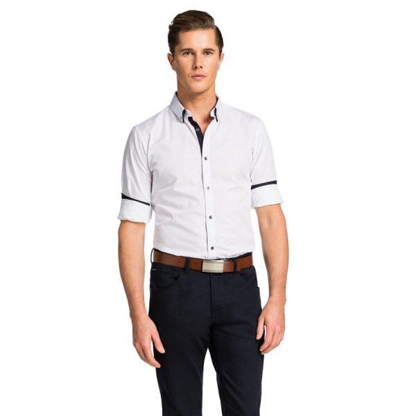 Fashion 4 Men - yd. Micro Square Print Shirt White 2 Xs