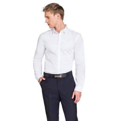 Fashion 4 Men - yd. Plain Stretch Slim Fit Shirt White Xxl