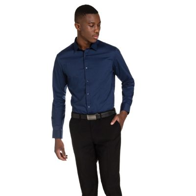 Fashion 4 Men - yd. Vaughn Slim Fit Shirt Navy 2 Xs