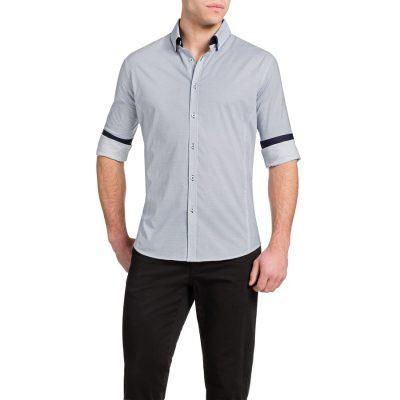 Fashion 4 Men - Tarocash Carringbah Stretch Print Shirt White 4 Xl