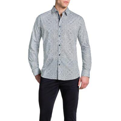 Fashion 4 Men - Tarocash Moroccan Print Shirt White 4 Xl