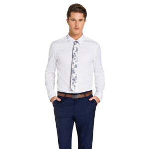 Fashion 4 Men - yd. Brosnan Slim Fit Tex Shirt White 2 Xs
