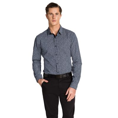 Fashion 4 Men - yd. Kamren Slim Fit Shirt Navy/White 2 Xs