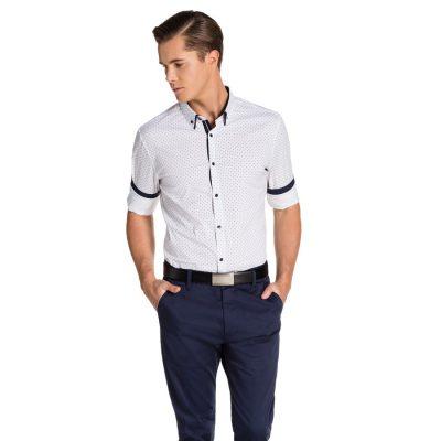Fashion 4 Men - yd. Lachlan Slim Fit Shirt White/ Navy S