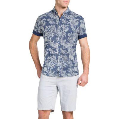 Fashion 4 Men - Tarocash Aloha Print Shirt Blue Xl