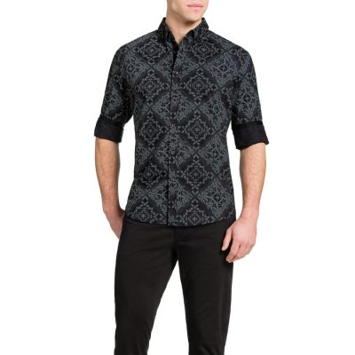 Fashion 4 Men - Tarocash Bandana Slim Print Shirt Black S