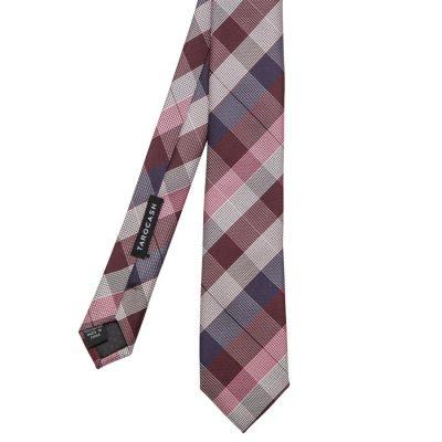 Fashion 4 Men - Tarocash Check Tie Burgundy 1