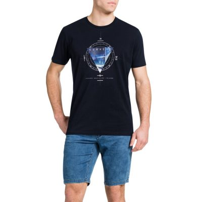 Fashion 4 Men - Tarocash Coastal Print Tee Navy Xxl