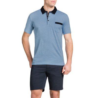Fashion 4 Men - Tarocash Contrast Collar Polo Sky M