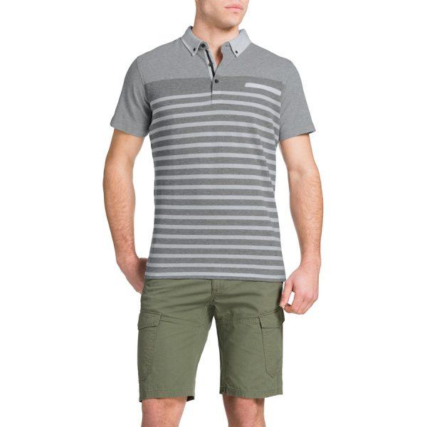 Fashion 4 Men - Tarocash Engineered Stripe Polo Grey Marle 5 Xl