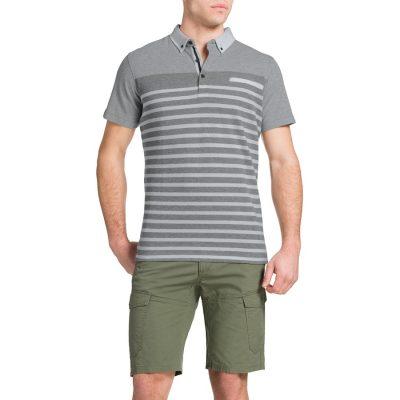 Fashion 4 Men - Tarocash Engineered Stripe Polo Grey Marle M