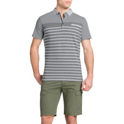 Fashion 4 Men - Tarocash Engineered Stripe Polo Grey Marle Xl