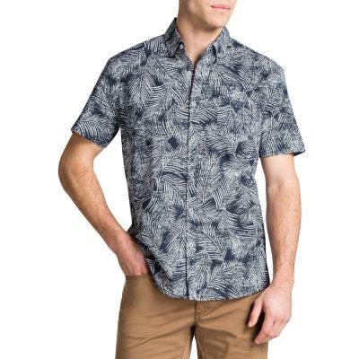 Fashion 4 Men - Tarocash Fern Print Shirt Navy Xxl