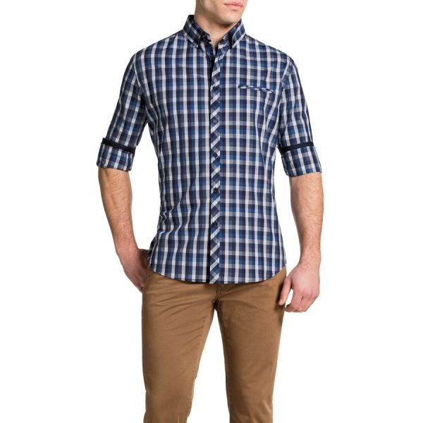 Fashion 4 Men - Tarocash Haldon Check Shirt Blue Xl