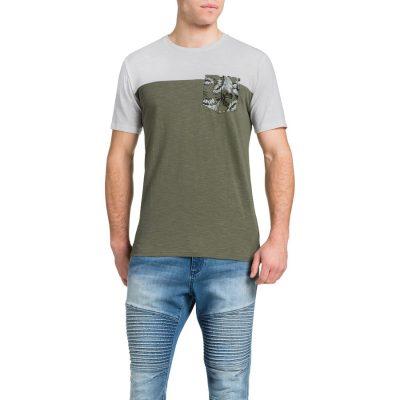 Fashion 4 Men - Tarocash Printed Pocket Spliced Tee Khaki L