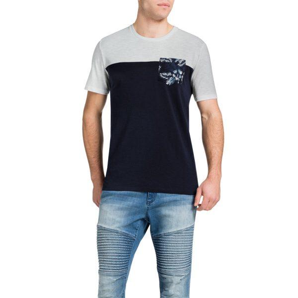 Fashion 4 Men - Tarocash Printed Pocket Spliced Tee Navy 4 Xl