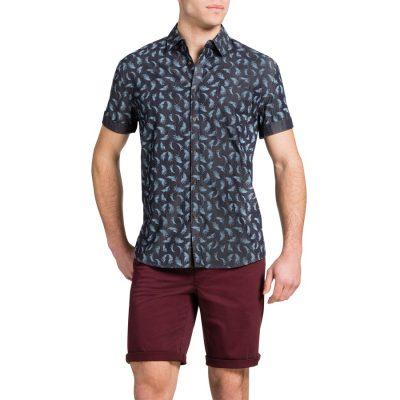 Fashion 4 Men - Tarocash Raven Print Shirt Indigo S