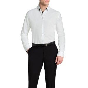 Fashion 4 Men - Tarocash Roger Textured Shirt White 5 Xl