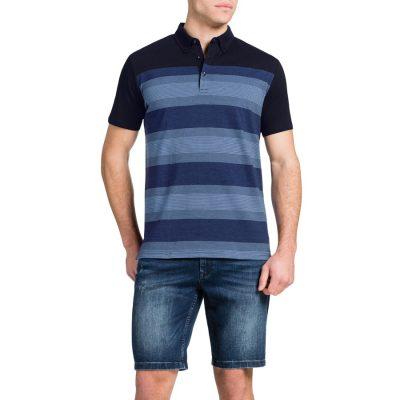 Fashion 4 Men - Tarocash Spliced Stripe Polo Navy S